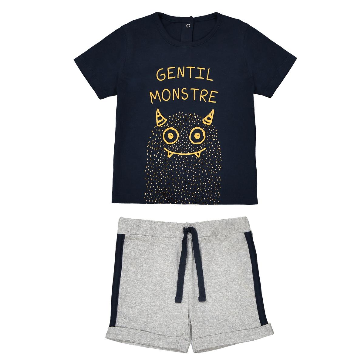 Комплект детский из футболки и шорт, 1 мес. - 3 года La Redoute Collections
