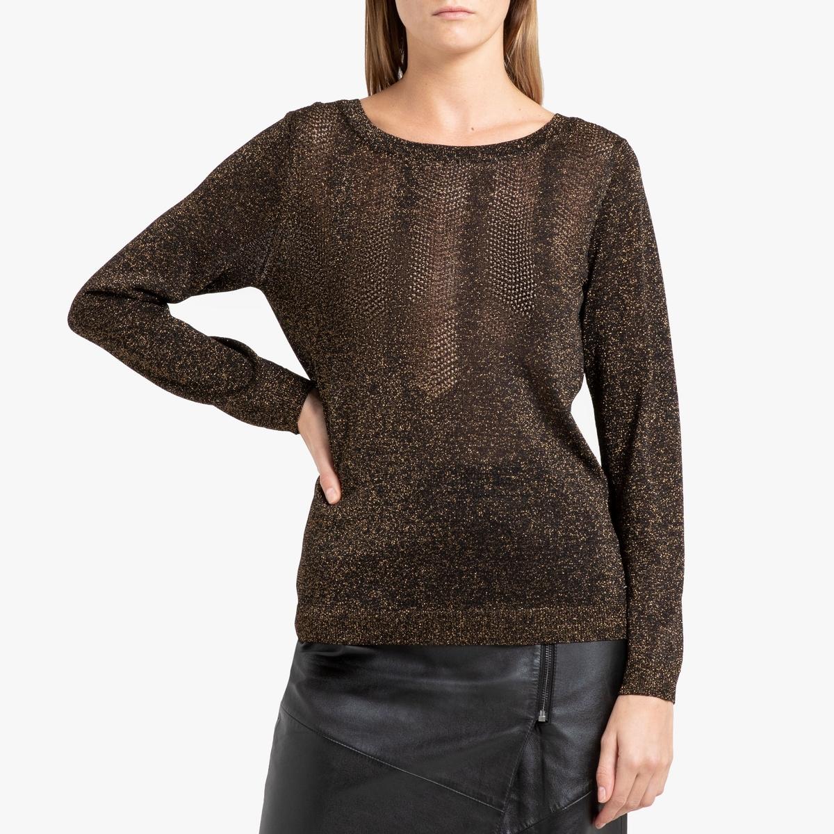 цена Пуловер La Redoute С вырезом-лодочка из тонкого радужного трикотажа XS черный онлайн в 2017 году