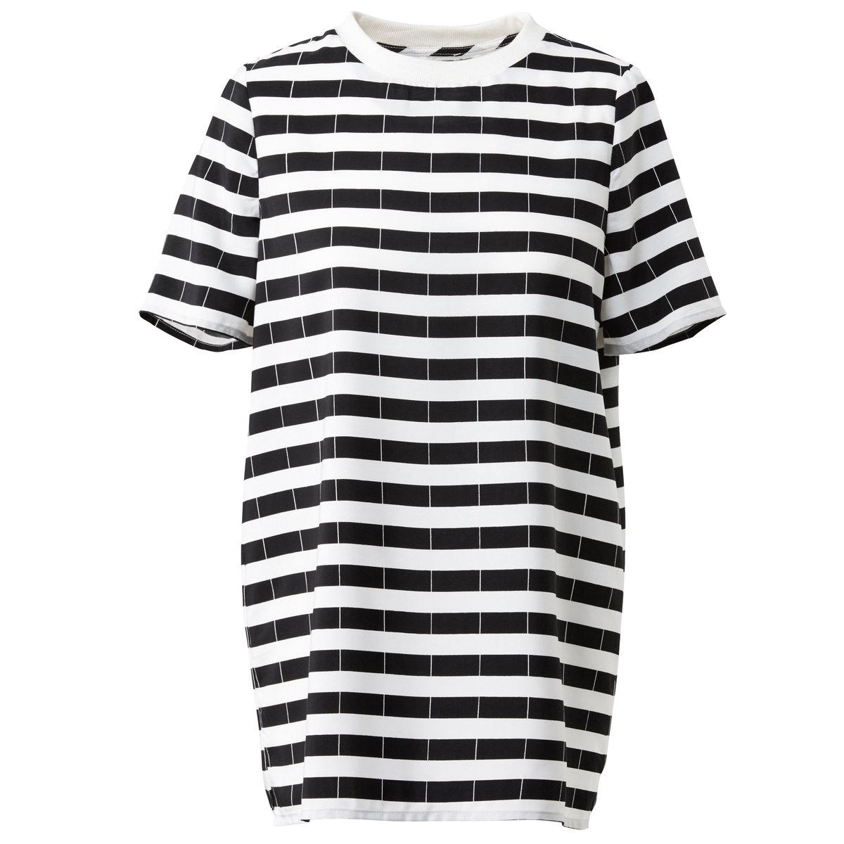Блузка с короткими рукавамиБлузка из 100% полиэстера. Воротник из белого трикотажа. Короткие рукава. Длина 68 см.<br><br>Цвет: черный + белый<br>Размер: 36 (FR) - 42 (RUS).34 (FR) - 40 (RUS)