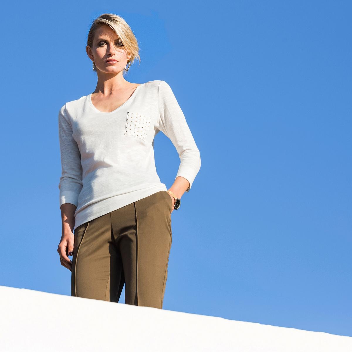 Imagen principal de producto de Camiseta con cuello de pico y bolsillo fantasía, con manga 3/4 - Anne weyburn