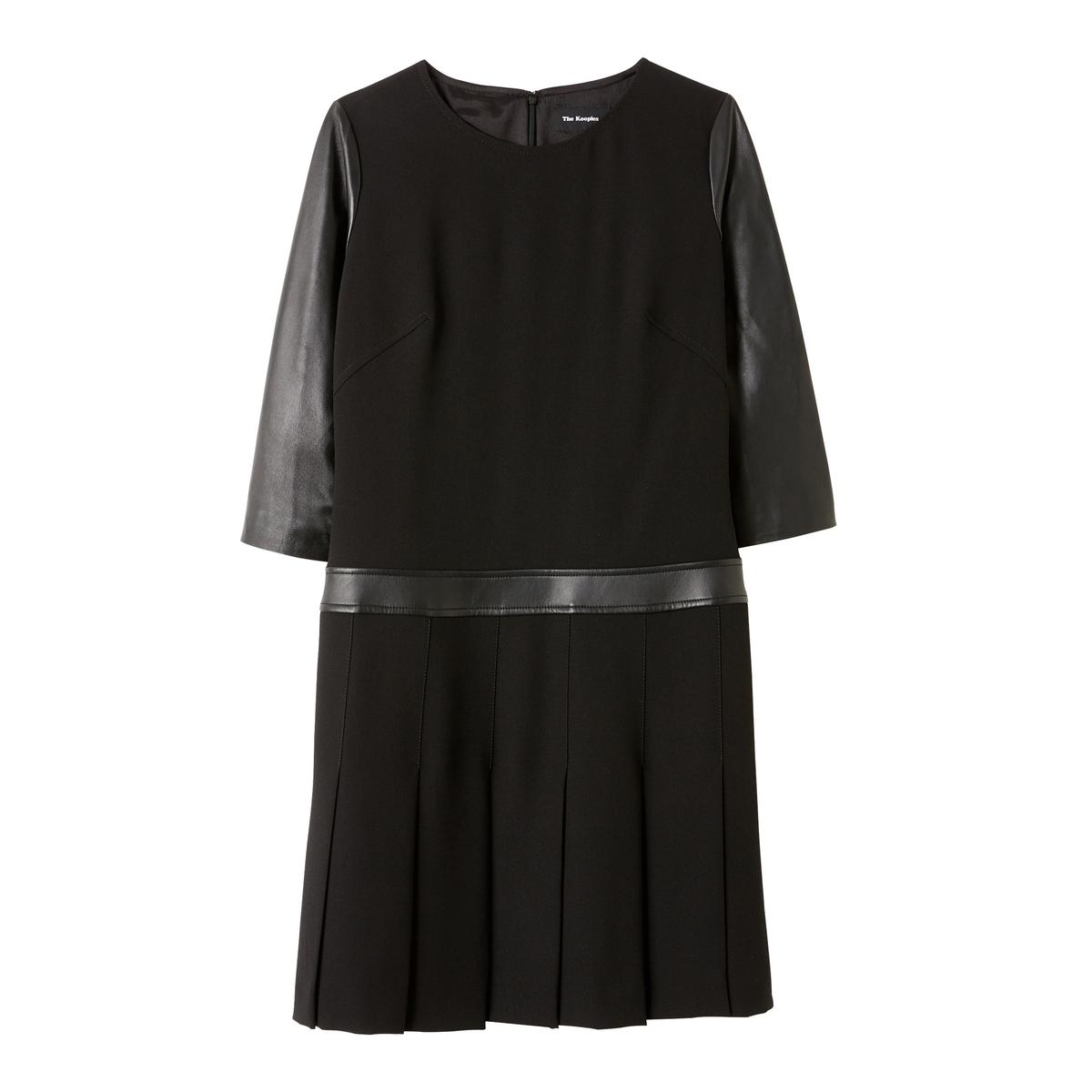 Платье прямого покроя с кожаными рукавами 3/4 пальто со стеганными кожаными рукавами фото