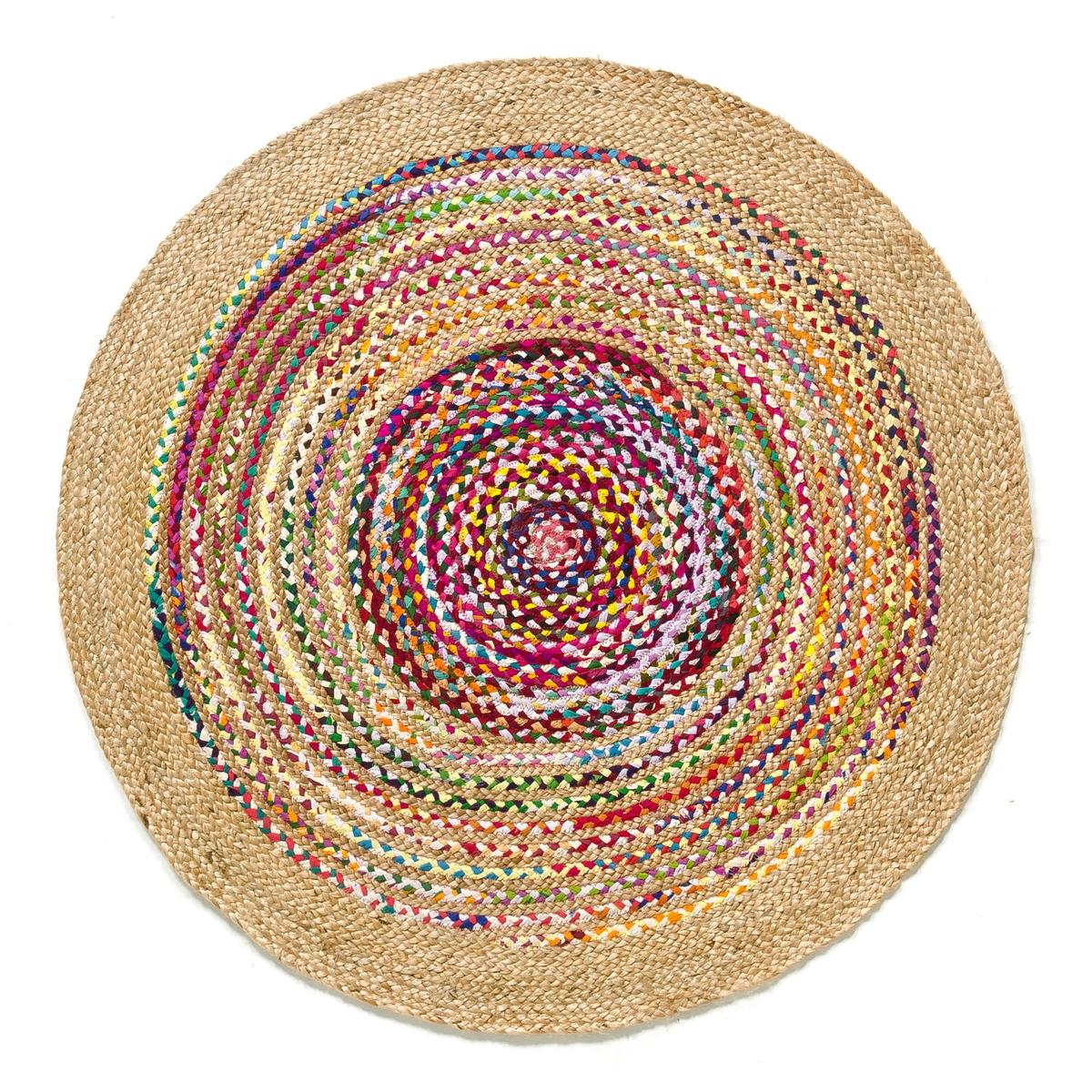 Ковер из джута и хлопка ?120 см, JacoКовер Jaco. Из хлопка и джута, плетеного вручную. В разноцветную полоску. Естественный термо и звукоизолятор, ковер соединяет пространство, согревает комнату, создает ощущение благополучия и комфорта. Это элемент декора, который придает стиль и атмосферу.Размеры ковра Jaco :- Диаметр 120 см.    Доставка :  Возможна доставка до квартиры по предварительному согласованию! Внимание ! Убедитесь, что дверные, лестничные и лифтовые проемы позволяют осуществить доставку коробки таких габаритов.<br><br>Цвет: разноцветный<br>Размер: единый размер
