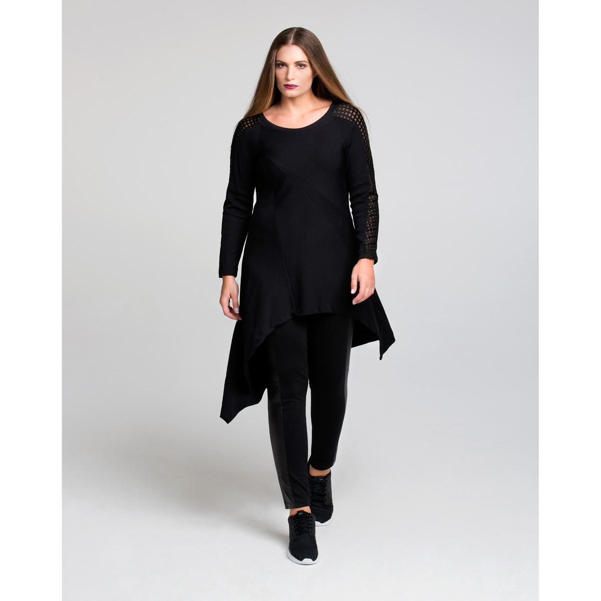 Платье асимметричноеПлатье асимметричное с длинными рукавами MAT FASHION. 97% полиэстера, 3% эластана. Асимметричный струящийся покрой, однотонные ткани из лоскутов, рукава и плечи в клетку из элегантной прозрачной ткани. Длинные рукава. Закругленный вырез.<br><br>Цвет: черный<br>Размер: 44/46 (FR) - 50/52 (RUS)