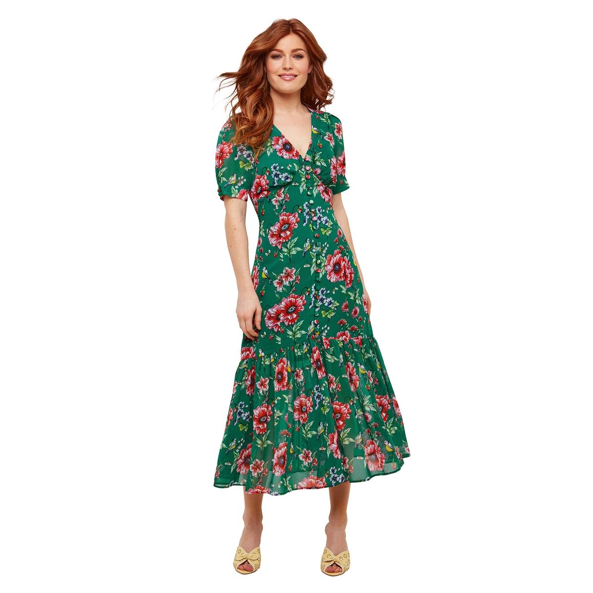 Платье La Redoute Длинное с V-образным вырезом с короткими рукавами и цветочным принтом 36 (FR) - 42 (RUS) зеленый платье la redoute прямое с цветочным рисунком и короткими рукавами 36 fr 42 rus зеленый