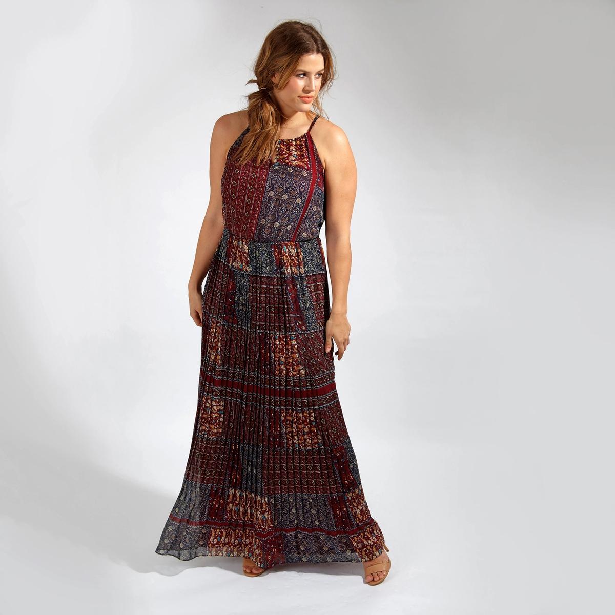 Платье длинноеДлинное платье на тонких бретелях KOKO BY KOKO. Юбка с эффектом плиссе. 100% полиэстер<br><br>Цвет: набивной рисунок<br>Размер: 54/56 (FR) - 60/62 (RUS)