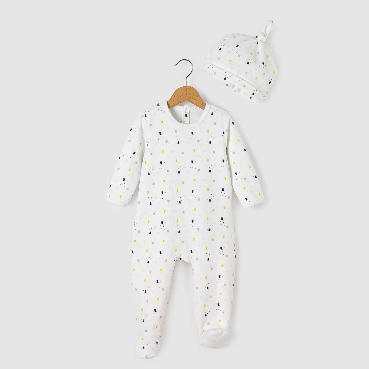 Пижама велюровая + шапочка,- Oeko Tex от La Redoute Collections