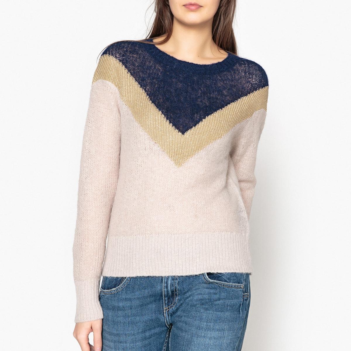 Пуловер из тонкого трикотажа с блестящей полосой MUSA YOKE v notch geo yoke smock top