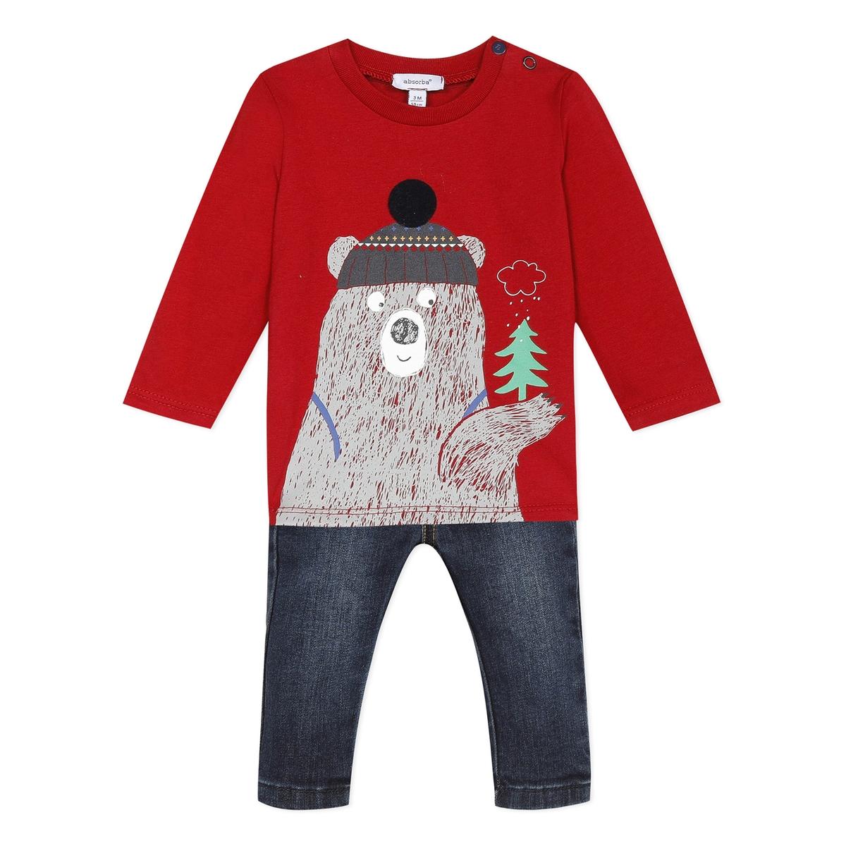 Комплект из футболки с длинными La Redoute Рукавами и джинсов - мес 3 мес. - 60 см красный комбинезон с длинными рукавами 0 мес 3 года