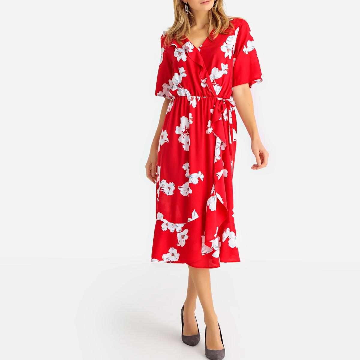 Imagen secundaria de producto de Vestido vaporoso con cuello de pico V, manga corta y estampado de flores - Anne weyburn