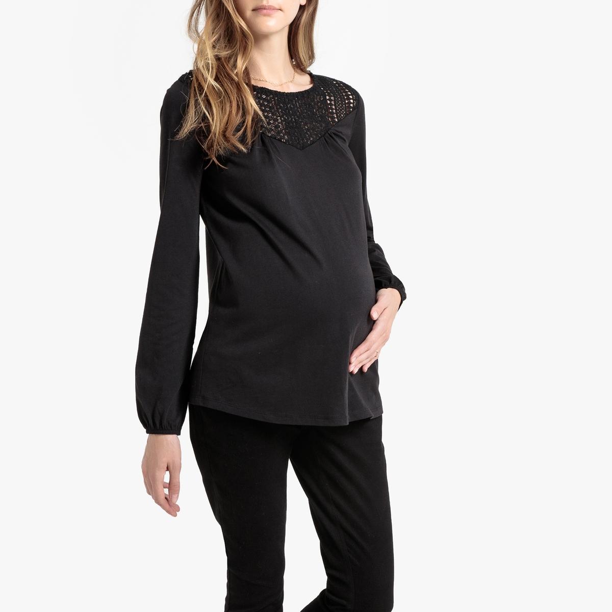 Фото - Футболка LaRedoute Для периода беременности с кружевом и длинными рукавами S черный блузка с рисунком и длинными рукавами для периода беременности