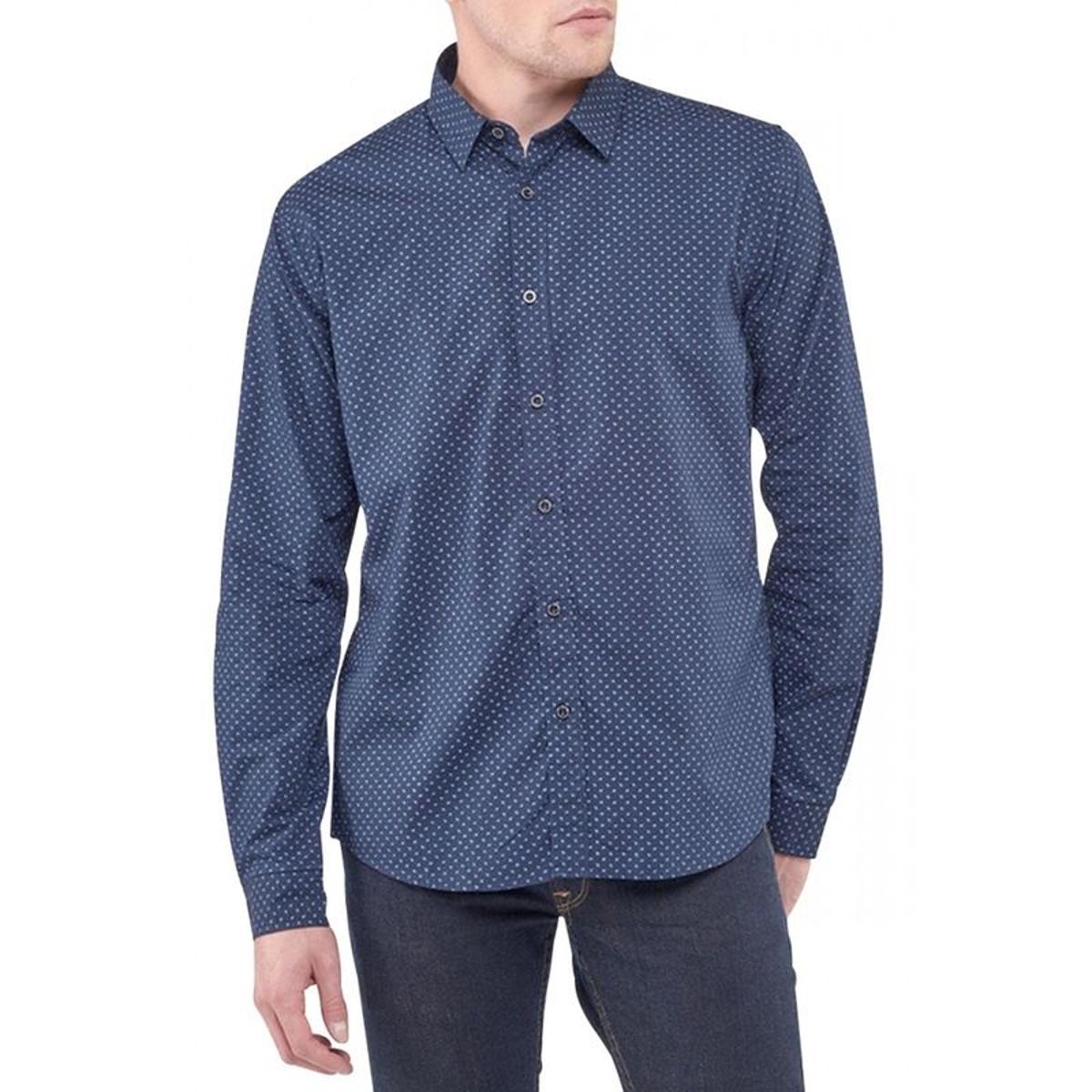 Chemise manches longues à pois ELVIS Bleu marine