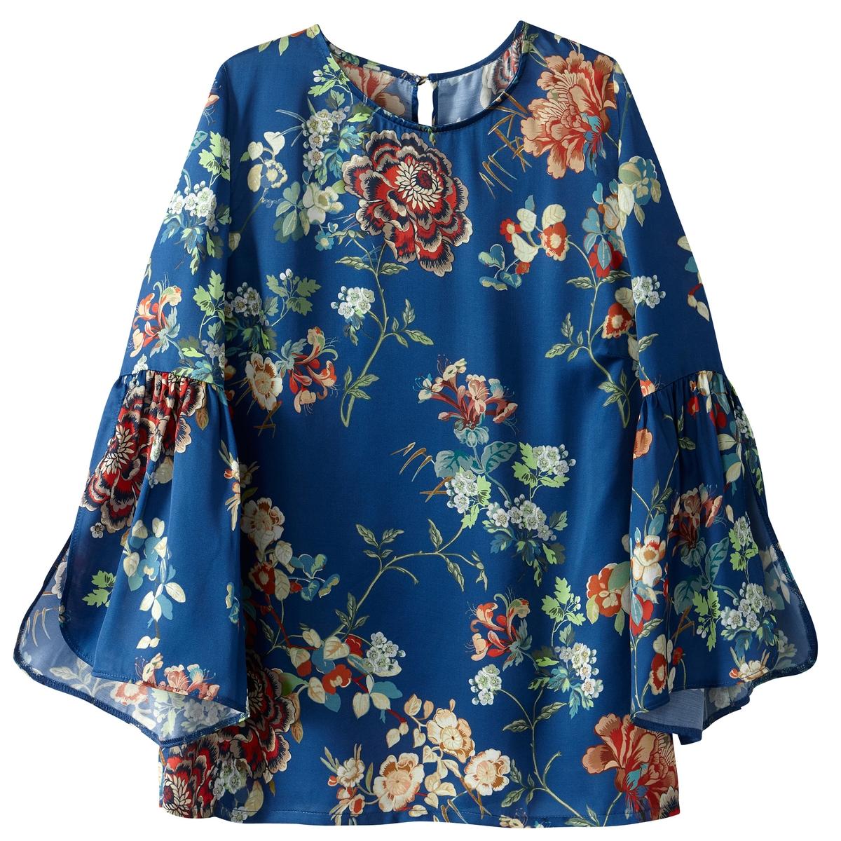Блузка с расклешенными рукавами и цветочным рисунком