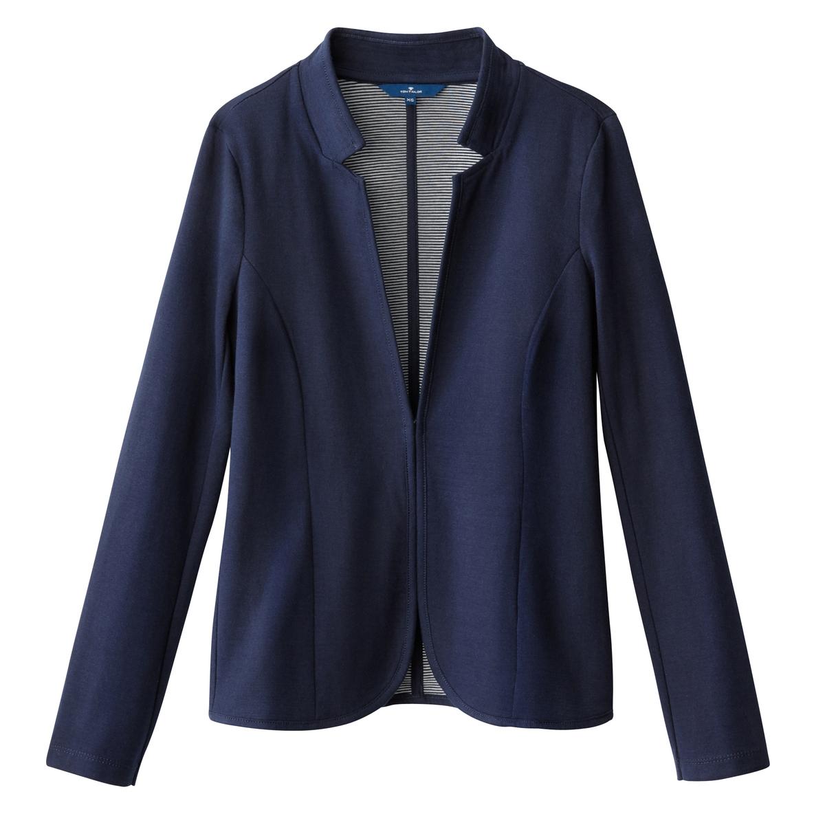 Куртка-блейзер приталеннаяОписание:Детали •  Блейзер •  Приталенный покрой •  Без воротникаСостав и уход •  80% хлопка, 20% полиамида •  Следуйте советам по уходу, указанным на этикетке<br><br>Цвет: темно-синий<br>Размер: XL