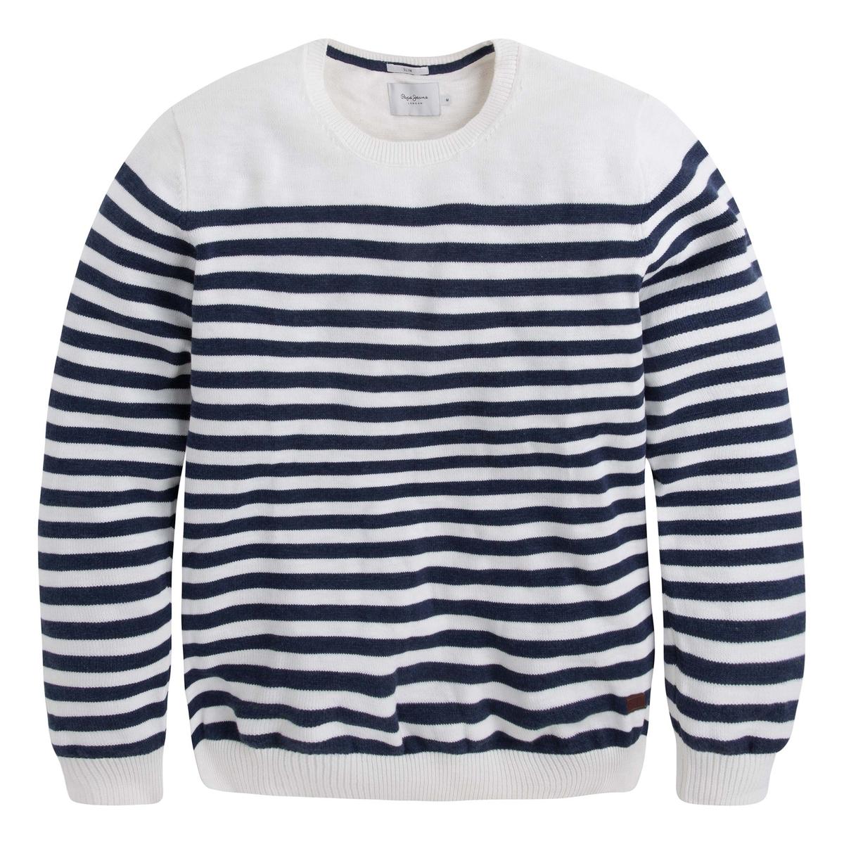 Пуловер с круглым вырезом, из тонкого трикотажаОписание:Детали •  Длинные рукава •  Круглый вырез •  Тонкий трикотаж •  Рисунок в полоску  Состав и уход •  100% хлопок •  Следуйте рекомендациям по уходу, указанным на этикетке изделия<br><br>Цвет: белый,синий морской<br>Размер: L.S.M.M.XL
