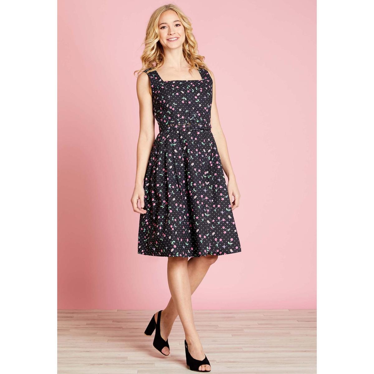 Платье расклешенное средней длины с рисунком в горошек платье yumi yumi платье