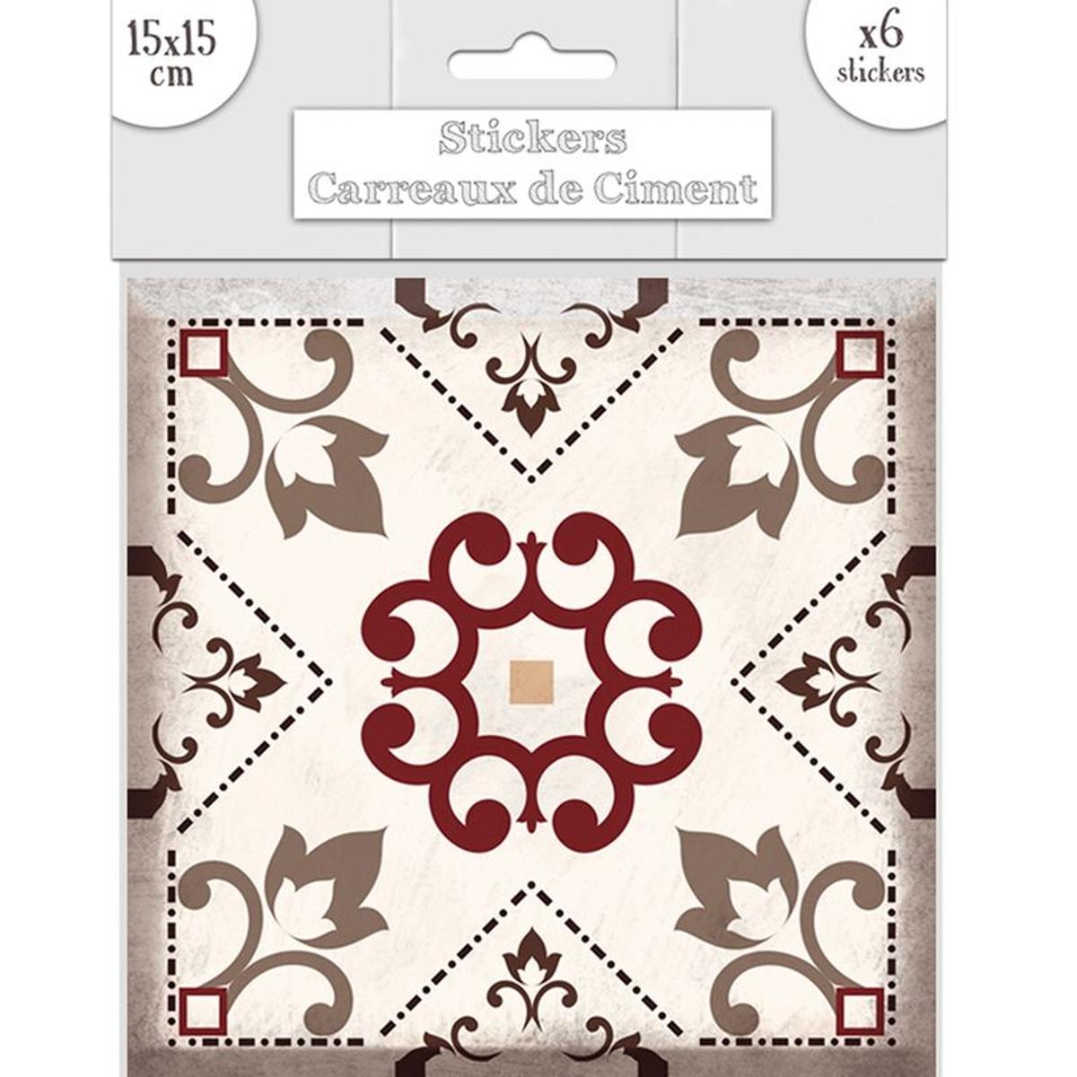 6 stickers carreaux tons gris et marron 15 x 15 cm