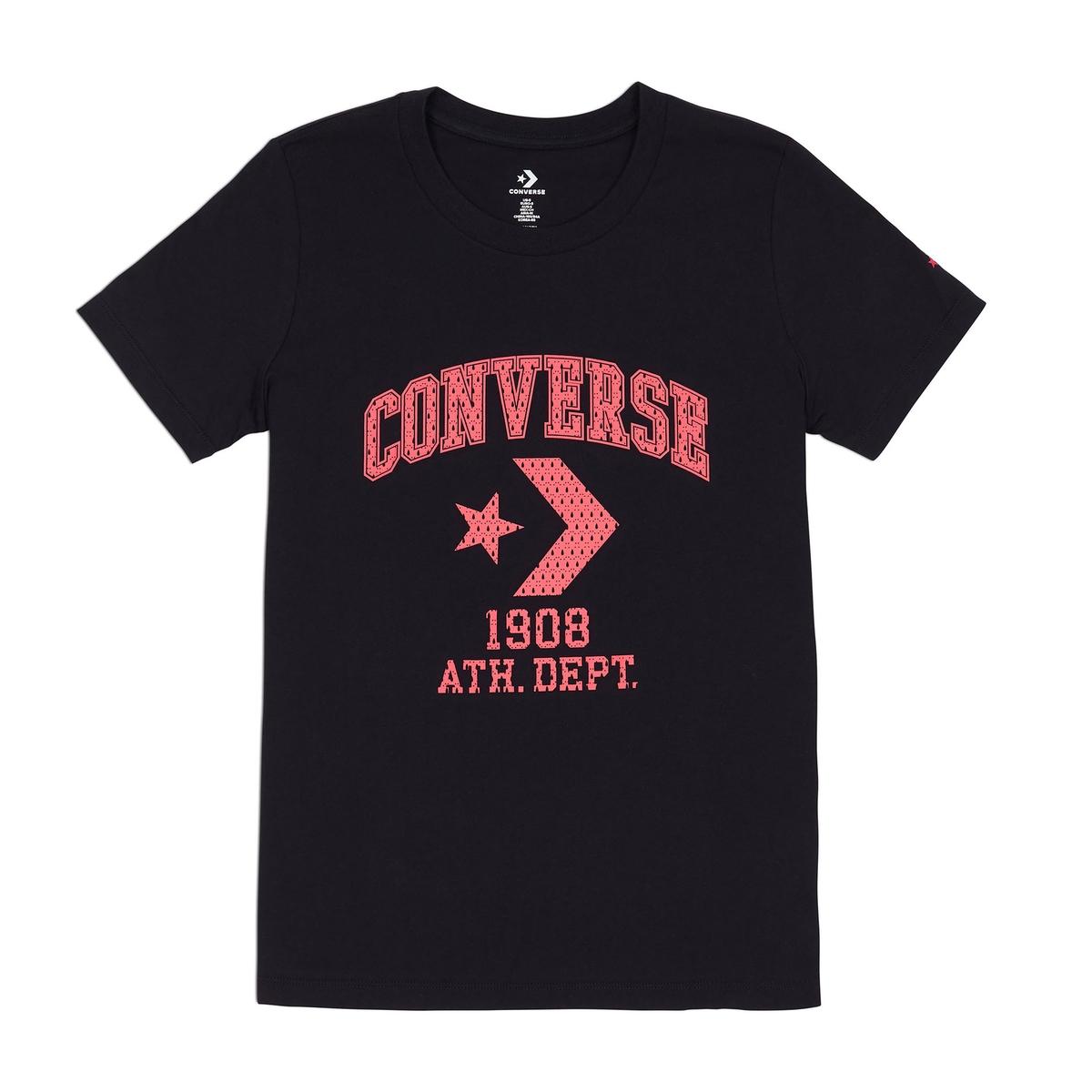 Camiseta con cuello redondo y estampado delante, 100% algodón