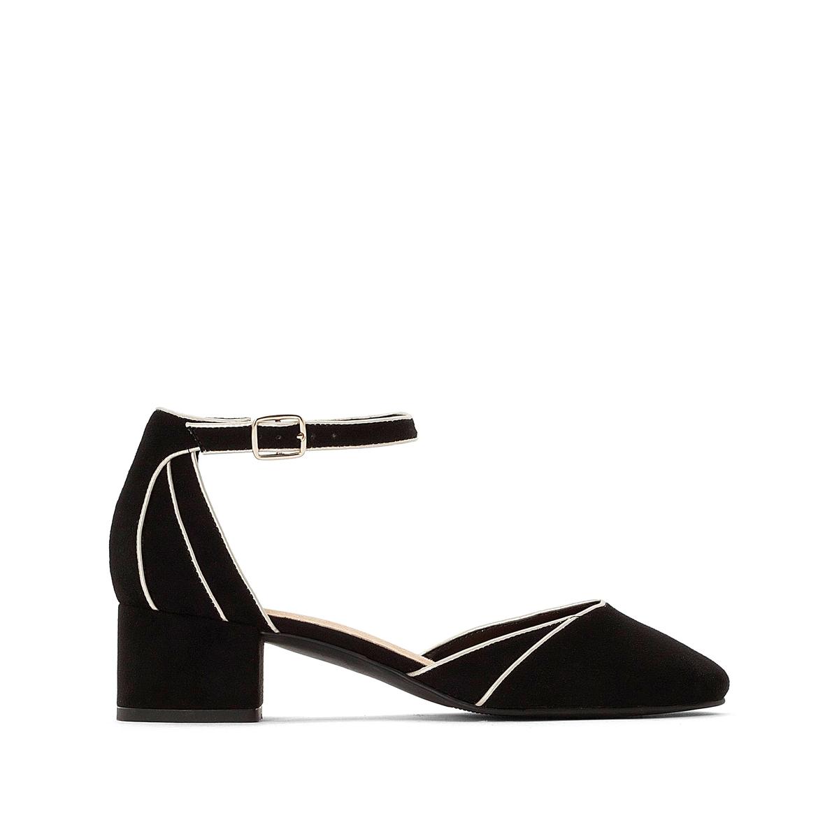 Sandalias de tacón con correa en el tobillo y ribete a contraste