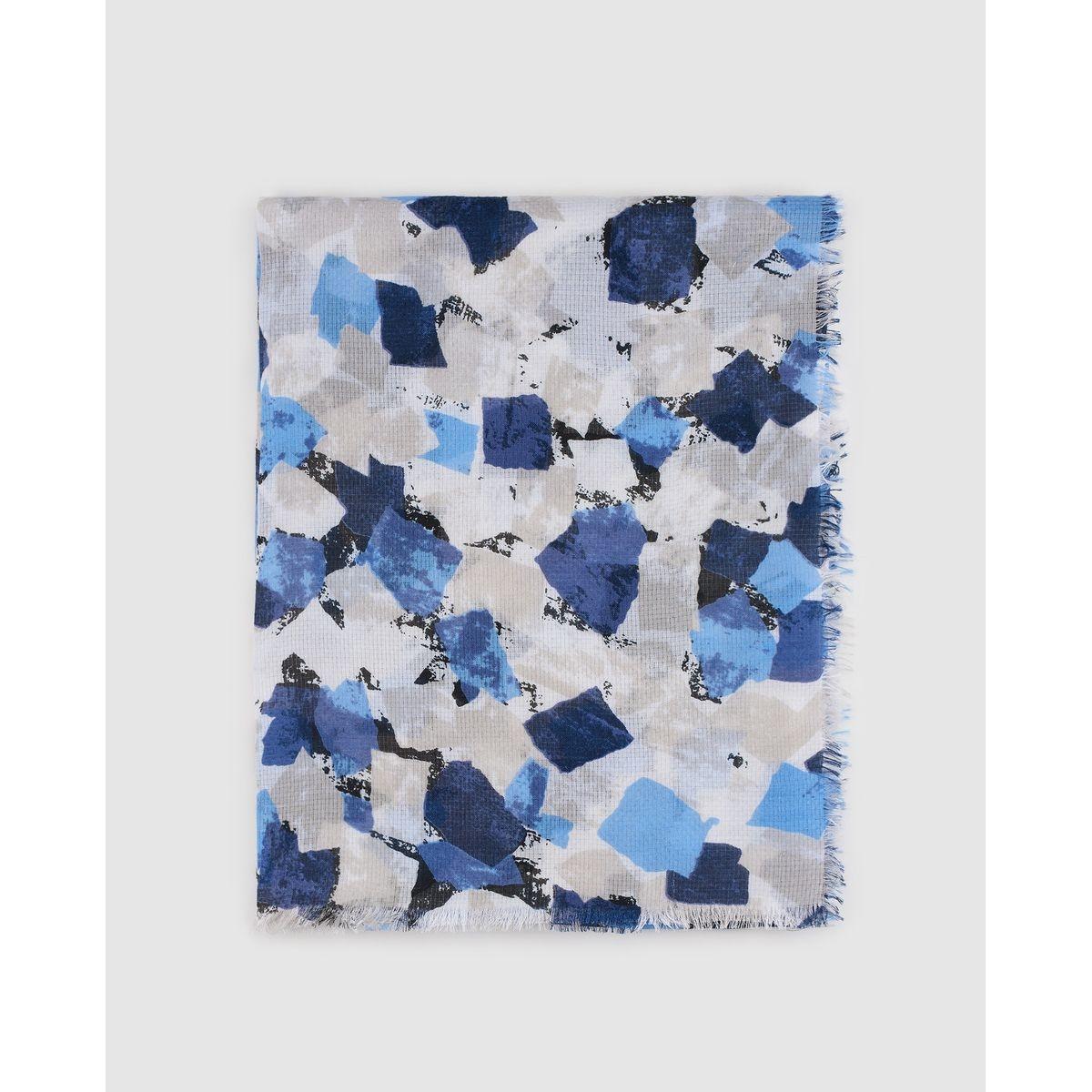 Foulard gris et bleu à imprimé géométrique irrégulier