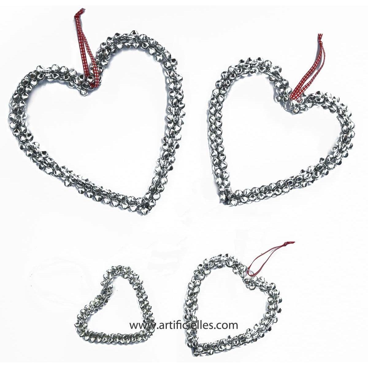 Coeur Argente avec clochettes et ruban D 14 cm superbe