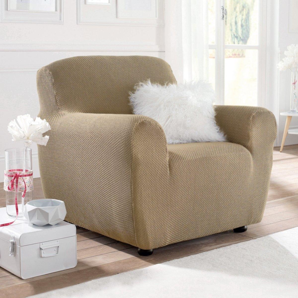 Чехлы для кресла и диванаИз эластичной гофрированной ткани, 55% хлопка, 40% полиэстера, 5% эластана. Стирка при 30°. Эластичный низ прекрасно закрывает кресла, диваны и стулья любых типов.<br><br>Цвет: серо-бежевый<br>Размер: 2 места