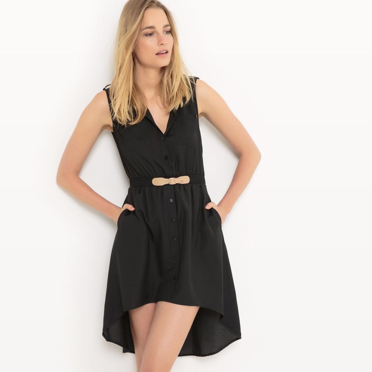 Платье короткое, без рукавов, однотонноеМатериал : 55% модала, 45% полиэстера  Длина рукава : без рукавов  Форма воротника : круглый вырез Покрой платья : платье прямого покроя   Рисунок : однотонная модель   Длина платья : укороченная модель<br><br>Цвет: черный<br>Размер: L