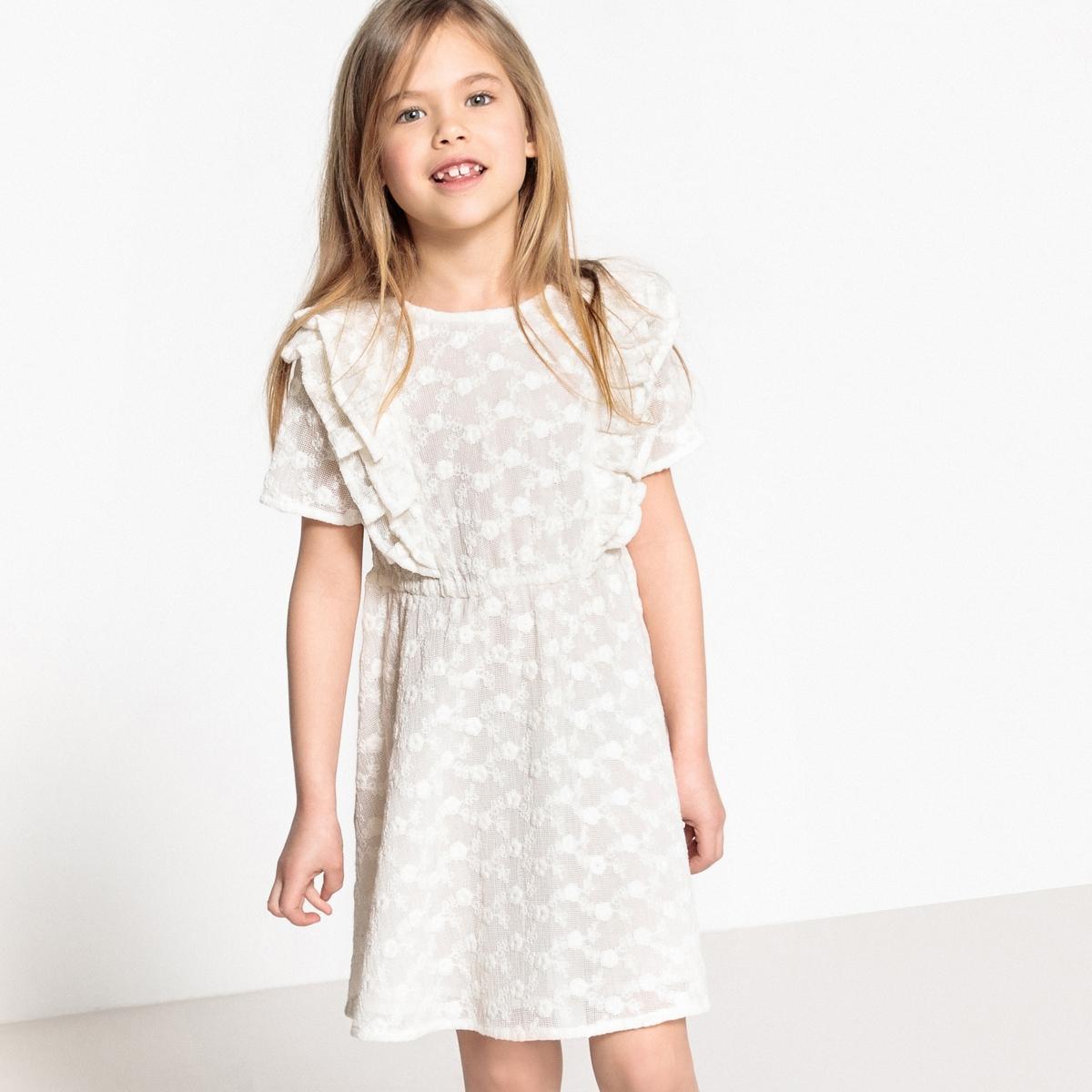 Платье с вышивкой и воланами, 3-12 лет футболка с вышивкой и воланами 3 12 лет