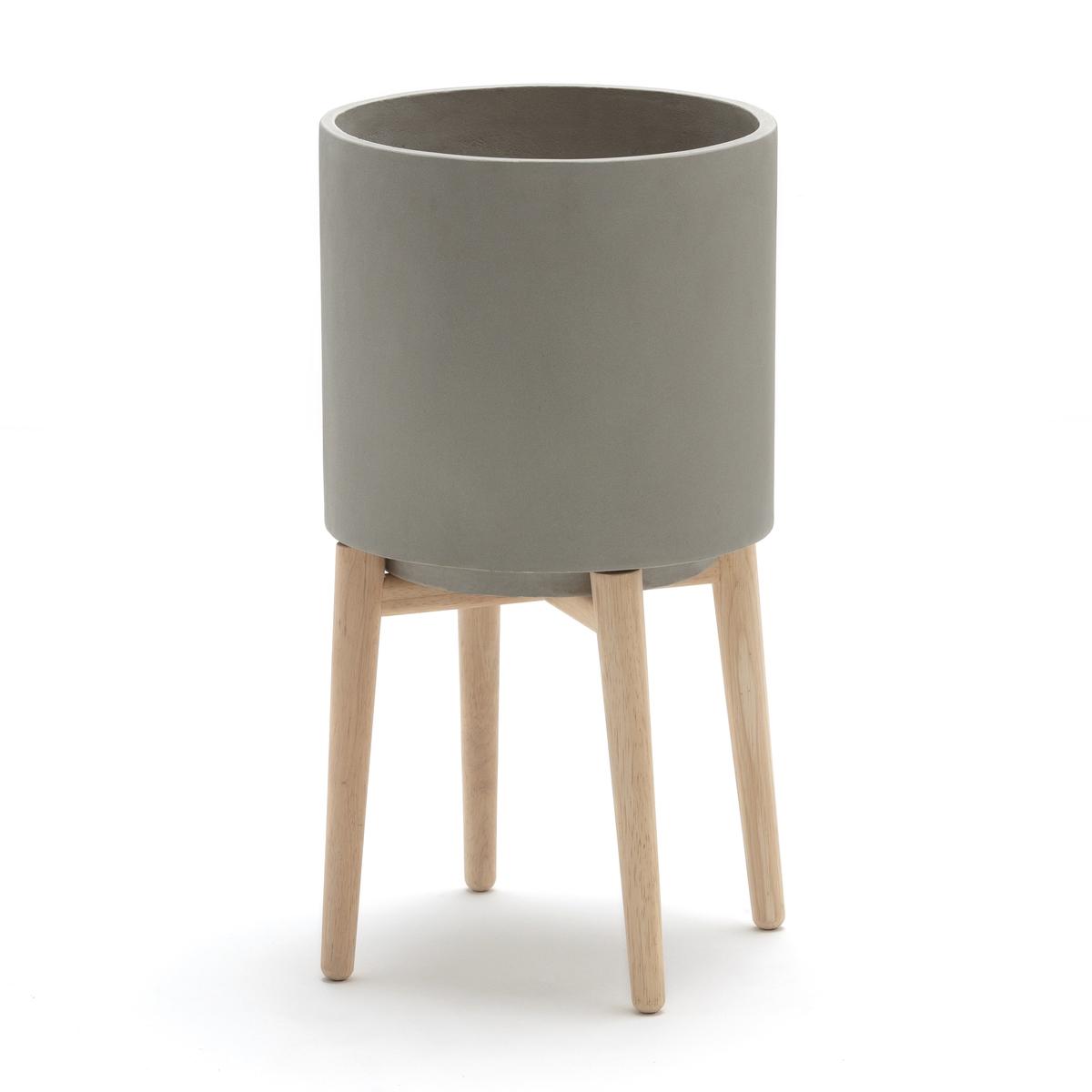 Кашпо Выс.58,5 см, FlorianLa Redoute<br>Декоративное кашпо из цемента на складной деревянной подставке. Идеален для украшения ваших растений.Характеристики : - Из цементаПодставка из гельвеи    Размеры  : - ?34 x 58,5 см- Горшок: ?31 x 30,5 см<br><br>Цвет: серый цементовый<br>Размер: единый размер