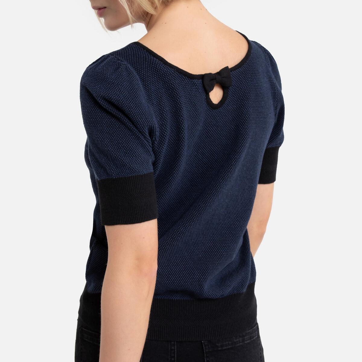 цена на Пуловер La Redoute С короткими рукавами и V-образным вырезом M синий