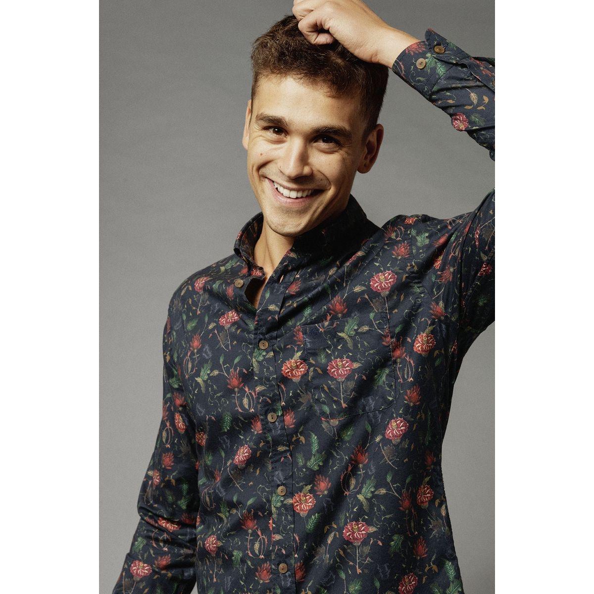 Chemise manches longues twill fantaisie à fleurs