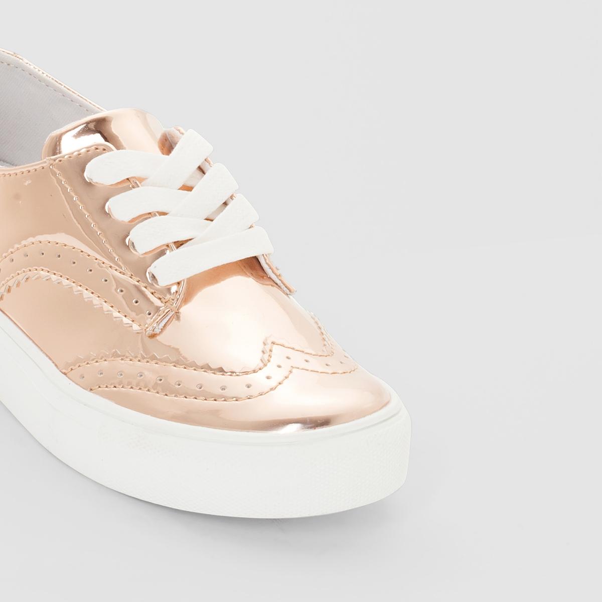 Кеды синтетическиеДетали  •  Спортивный стиль •  Плоский каблук •  Застежка : шнуровкаСостав и уход  •  Верх 100% синтетический материал •  Подкладка 100% хлопок<br><br>Цвет: розовый золотистый<br>Размер: 30.34