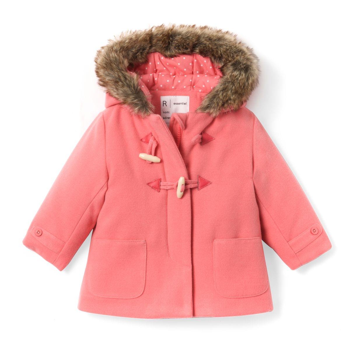 Duffle coat à capuche 1 mois - 3 ans rose