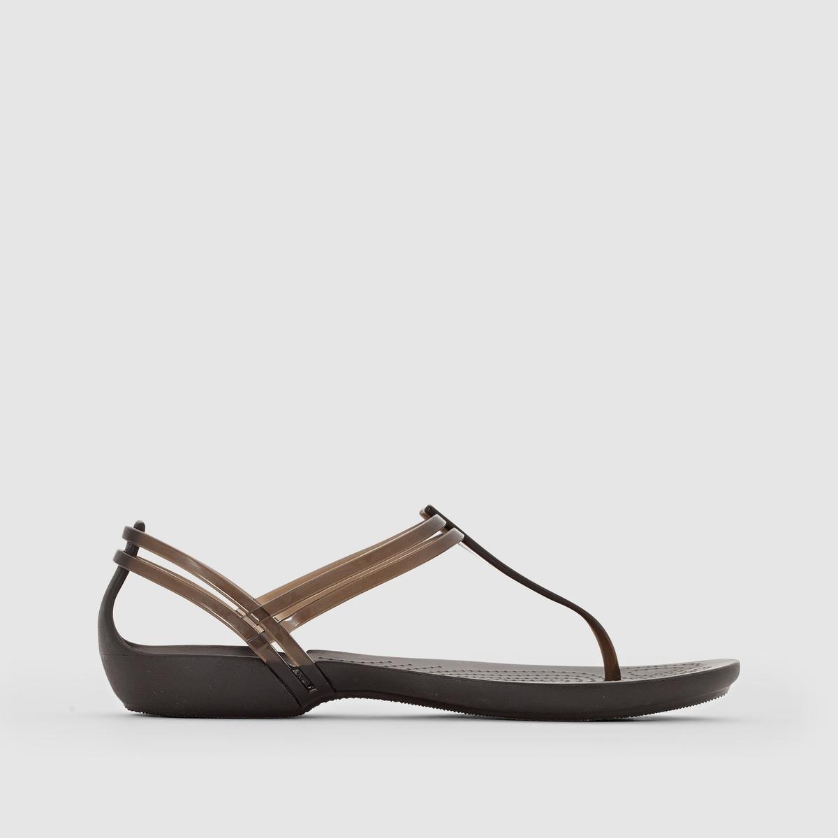 Сандалии ISABELLA T STRAPЛёгкие, яркие и забавные одновременно плоские сандалии с перемычкой между пальцами... обеспечат вам комфортное лето.      Полупрозрачный и исключительно мягкий термопластик повторяет форму ноги, а подошва из резины Croslite™ гарантирует комфорт, которым славится и ценится Crocs.<br><br>Цвет: черный