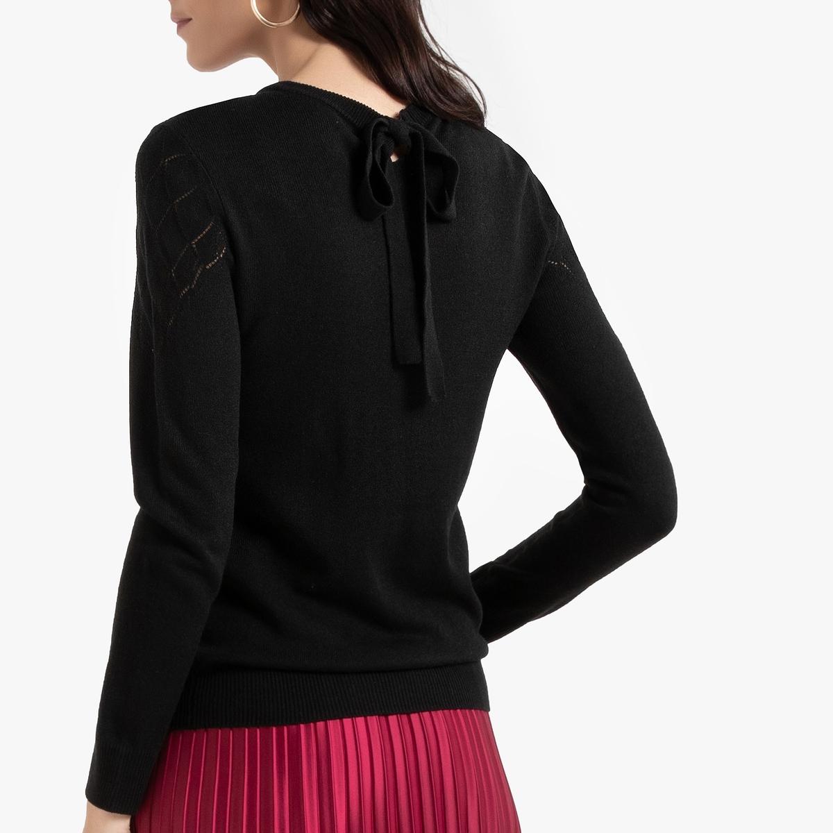 Пуловер La Redoute С круглым вырезом из тонкого ажурного трикотажа 50/52 (FR) - 56/58 (RUS) черный блузка la redoute с круглым вырезом без рукавов 50 fr 56 rus черный