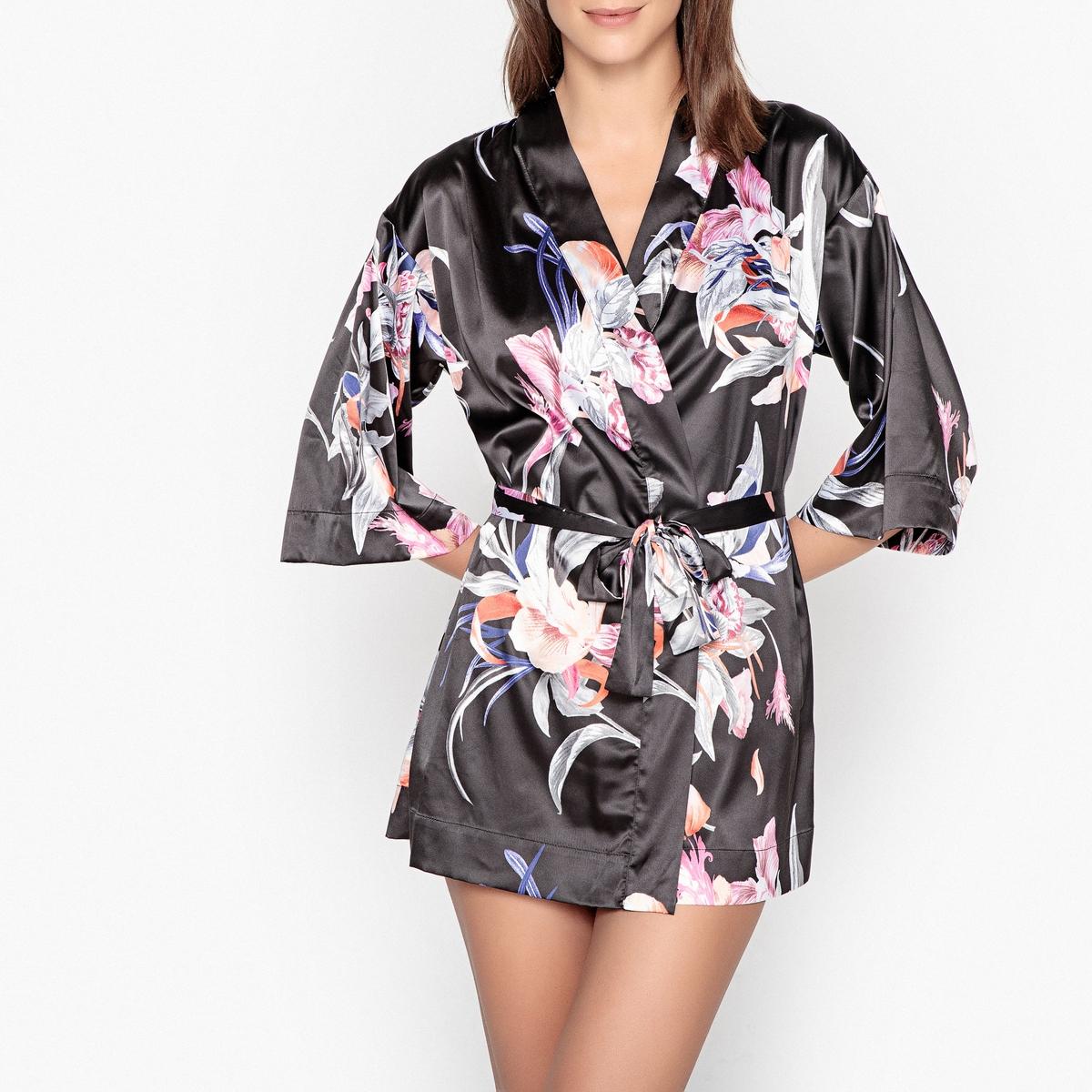 Кимоно из сатина  цветочным принтом