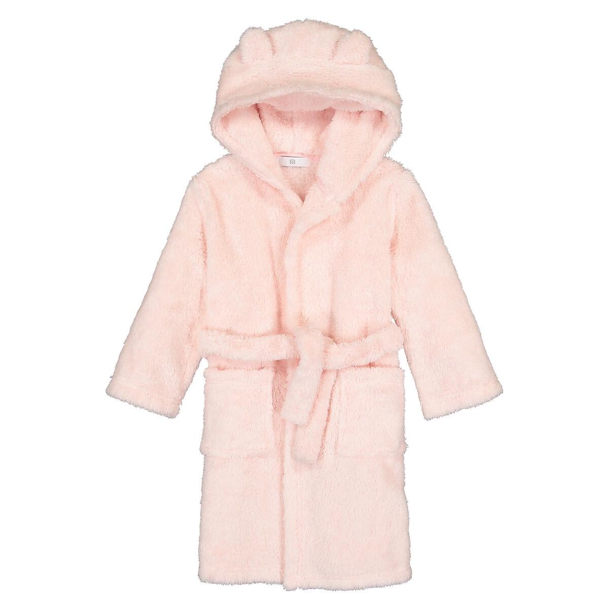 Халат LaRedoute С капюшоном из флисовой ткани 3-12 лет 6 лет - 114 см розовый