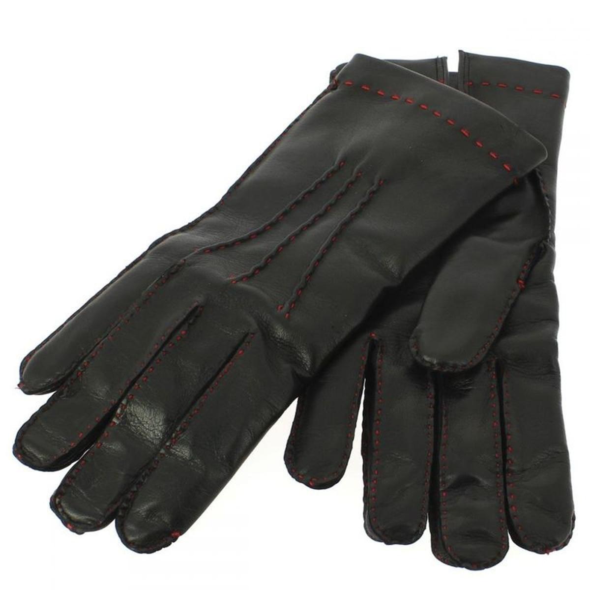 Gant cuir noir Luxe, agneau-laine, fil rouge, fait main en Italie