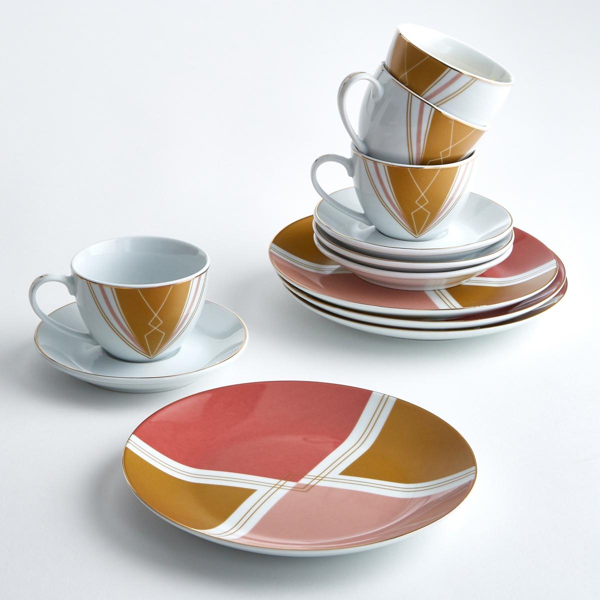 Комплект из 4 десертных тарелок с рисунком, PalatoМелкая тарелка Palato с геометрическим рисунком контрастных цветов, одновременно в современном стиле и стиле ретро.Характеристики 4 десертных тарелок с рисунком Palato :Фарфор.С рисунком.Кайма золотистого цвета.Размеры 4 десертных тарелок с рисунком Palato :Диаметр. 20,5 см.Другие тарелки и предметы декора стола вы можете найти на сайте laredoute.ru<br><br>Цвет: набивной рисунок