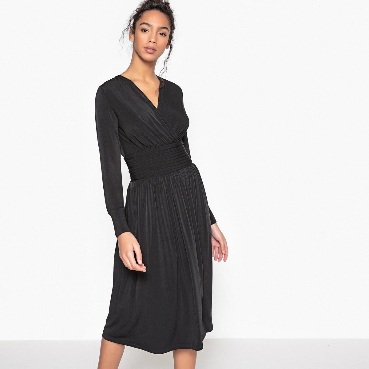 Платье-миди в форме каш-кер, пояс со складками, застежка на молнию сбоку