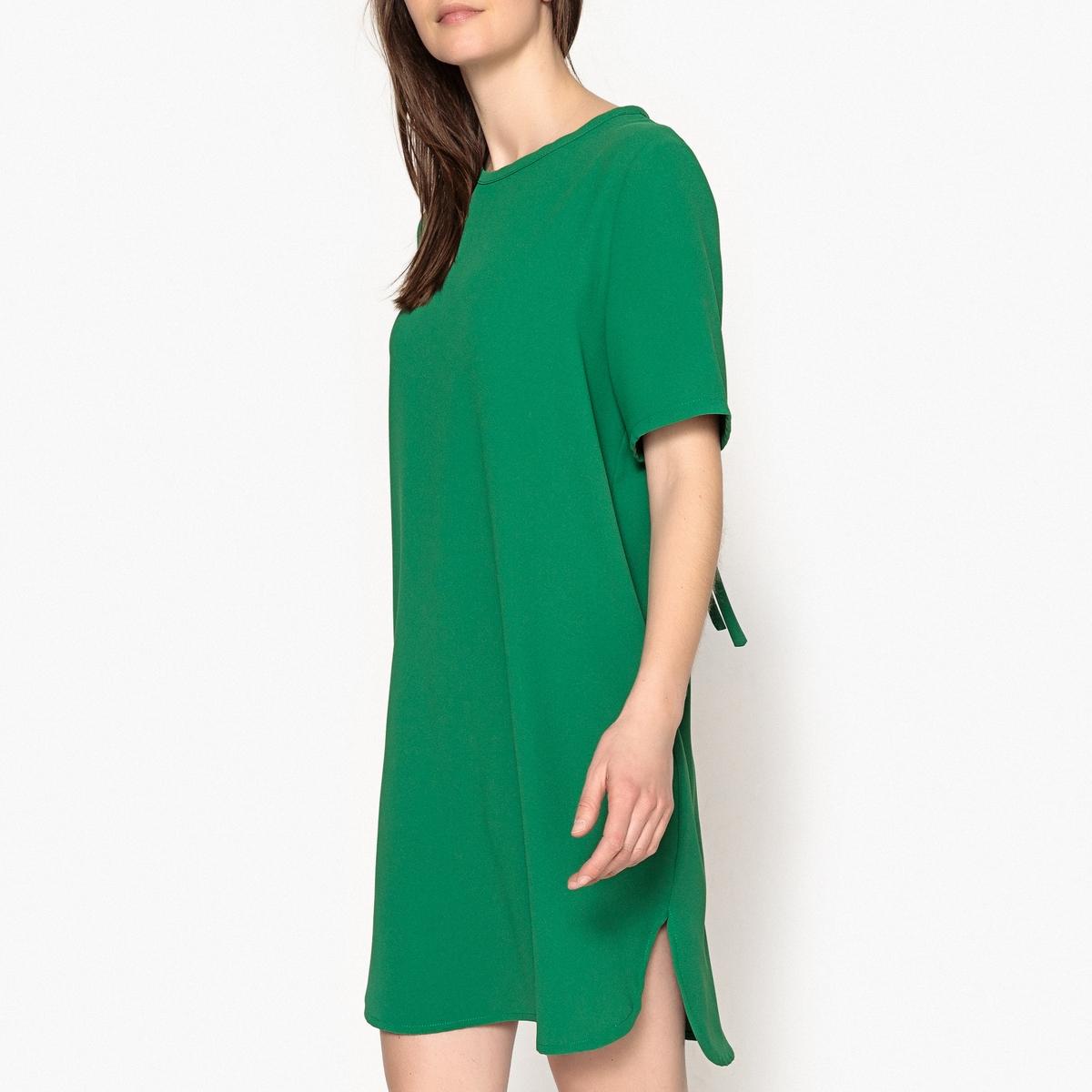 Платье с U-образным вырезом сзади с короткими рукавами FAEVAОписание:Платье  с короткими рукавами TOUPY - модель FAEVA .  U-образный вырез сзади с завязками . Закругленный низ, разрезы по бокам. Струящаяся ткань .Детали •  Форма : расклешенная •  Длина до колен •  Короткие рукава    •  Круглый вырезСостав и уход •  100% полиэстер •  Следуйте советам по уходу, указанным на этикетке •  Длина : ок.91 см. для размера S<br><br>Цвет: зеленый