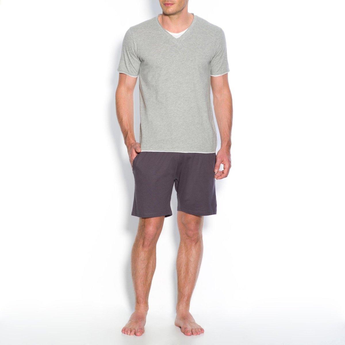 Пижама с шортамиПижама с шортами из джерси, 100% хлопок. Современная и комфортная.Пижама с шортами: футболка с короткими рукавами, V-образный вырез с двойным эффектом и шорты с эластичным поясом и 2 боковыми карманами + 1 карманом сзади.Знак Oeko-Tex*. *Международный знак Oeko-Tex гарантирует отсутствие вредных и раздражающих кожу веществ.<br><br>Цвет: серый меланж/антрацит,темно-синий/ серый