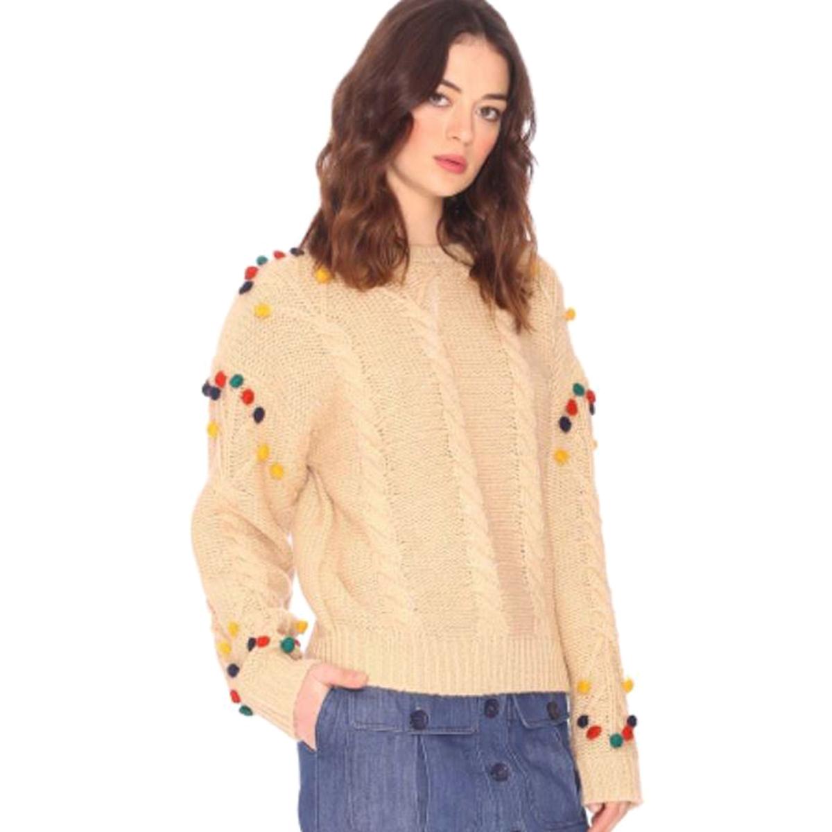 Sweter z okrągłym dekoltem, gruby splot