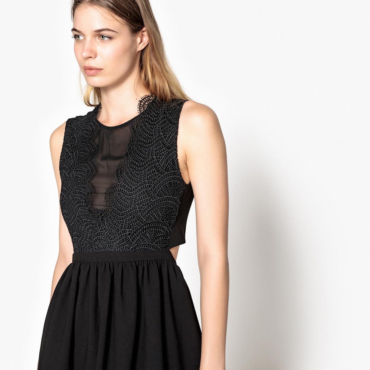 Платье La Redoute Расклешенное без рукавов и с кружевными вставками XS черный цена