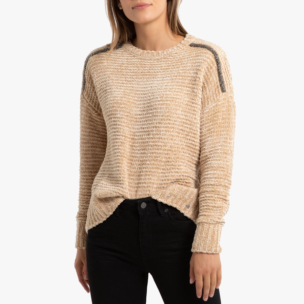 Пуловер La Redoute Из трикотажа из шенильной пряжи со стразами на плечах L бежевый пуловер la redoute из тонкого трикотажа со шнуровкой l бежевый