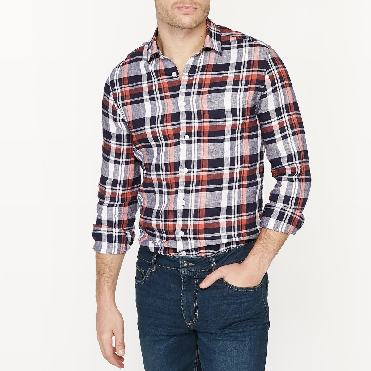 Camisa con corte recto 100% lino