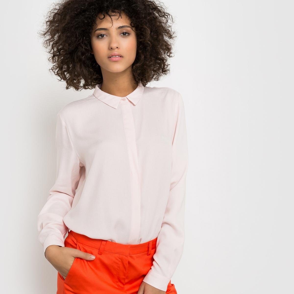 Рубашка из вискозы. Длинные рукаваРубашка из 100% вискозы . Длинные рукава . Без карманов . Супатная застежка на пуговицы  . Длина 67 см .            Элегантная и удобная рубашка, незаменимая в любом гардеробе  !<br><br>Цвет: бледно-розовый<br>Размер: 46 (FR) - 52 (RUS)