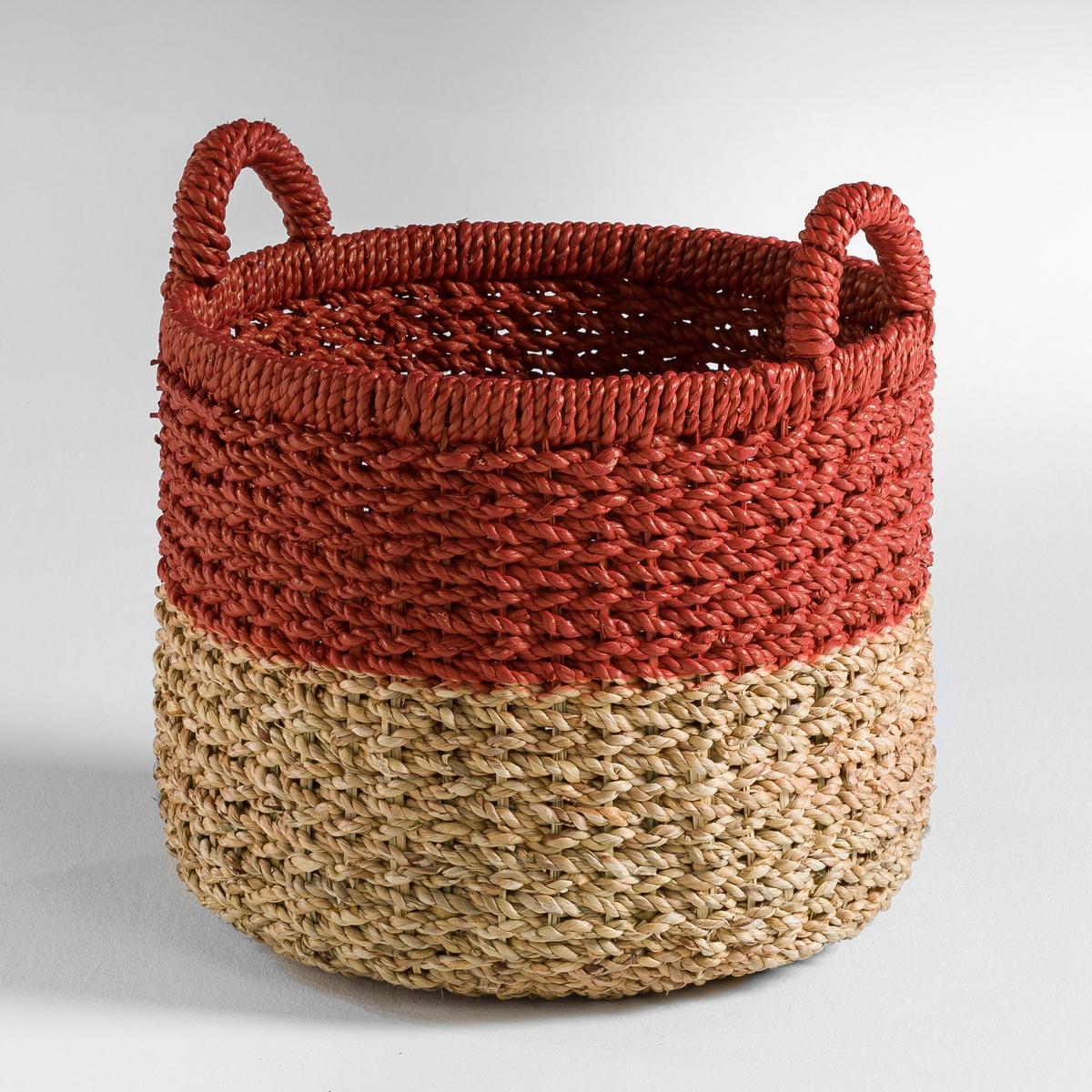 Корзина для хранения TigraХарактеристики корзины для хранения Tigra:Из волокон эйхорнии. Металлический каркас и плетеные ручки.Размеры корзины для хранения Tigra:Диаметр: 35 см. Высота: 42 см.<br><br>Цвет: экрю/ красный