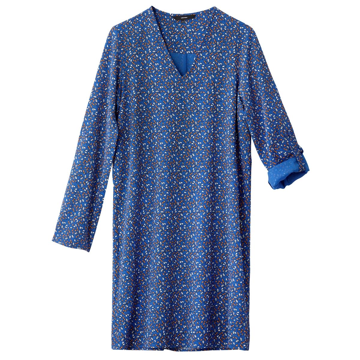 Платье La Redoute Короткое прямое с рисунком и длинными рукавами L синий цена
