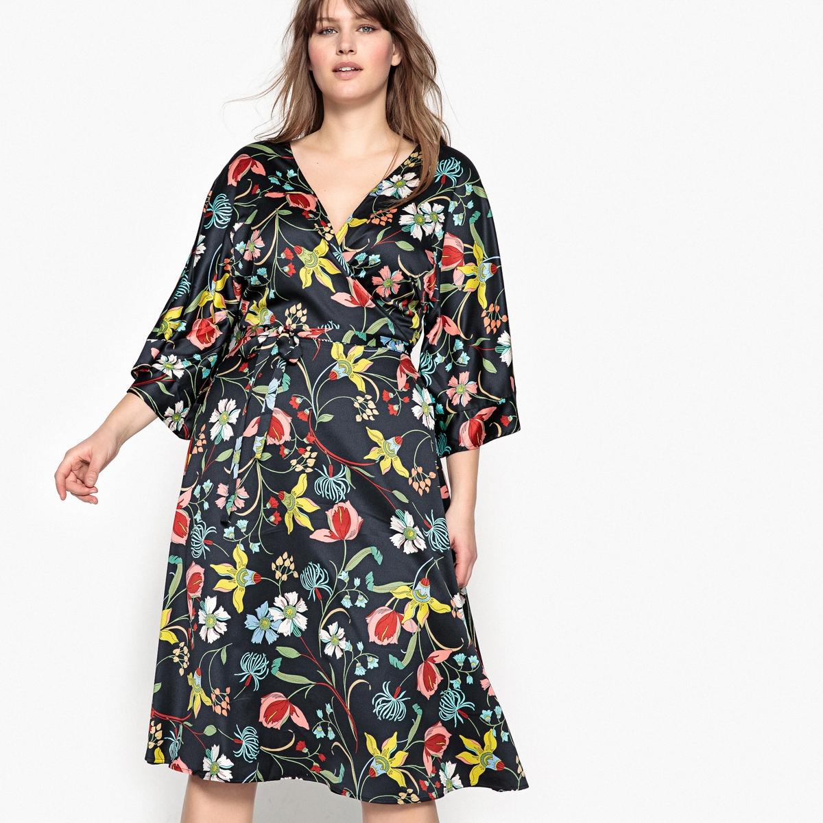 Платье средней длины расклешённое с цветочным рисункомОписание:Вам непременно понравится это современное платье с цветочным рисунком. Невероятно женственное, это платье с короткими рукавами присоединится к Вашему гардеробу. Детали •  Форма : расклешенная •  Длина до колен •  Короткие рукава    •   V-образный вырез •  Цветочный рисунокСостав и уход •  100% полиэстер •  Температура стирки 30° на деликатном режиме •  Сухая чистка и отбеливание запрещены •  Не использовать барабанную сушку •  Низкая температура глажкиТовар из коллекции больших размеров •  Длина : 113,8 см<br><br>Цвет: набивной рисунок