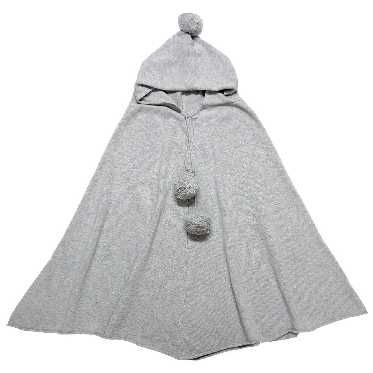 Poncho femme à capuche en laine et cachemire